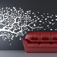 "Tree Decal blowing in the wind  flying leaves. Mural Removable vinyl Decal 77""x170""  wall sticker"
