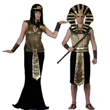 2017 Halloween Cosplay Child Ancient Egyptian Pharaoh Cleopatra Adult Costumes Girl Costume Clothes Egypt Princess Prince Party