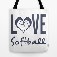 Love Softball (blue) Tote Bag by raineon