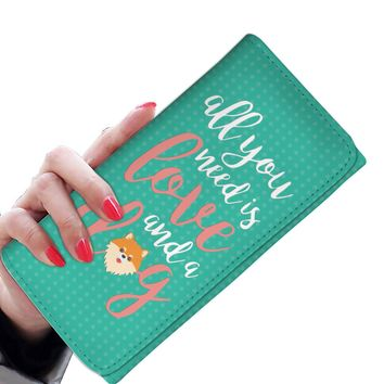 'All You Need is Love and a Dog' (Pomeranian) Women's Clutch Purse Wallet