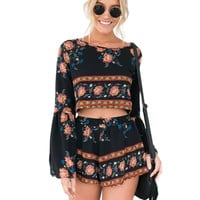 Boho Print Beach Elegant Jumpsuit Romper 2016 Summer Style Backless Long Sleeve Sexy Playsuit Women Two Piece Short Overalls