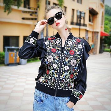 Free Shipping - Female runway vintage floral embroidery beading ruffles lined Jacket outwear