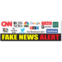 "Fake News Alert CNN MSNBC NPR Facebook Google 9""x3"" bumper sticker decal"