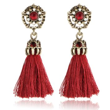 Cashmere tassel personality retro fashion national earrings