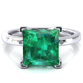 Maise Princess Emerald 4 Prong Diamond Accent Engagement Ring