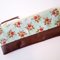 Zipper pouch/ Pencil case/ Writing case/ Small cosmetic bag / sewed in retro floral fabric / Asian flower pattern/ Handmade cute pencil case