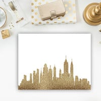New York City skyline print NYC skyline art NYC art New York City art Gold New York City art NYC wall art print gold print gold wall art