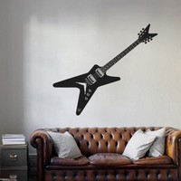 Ik749 Wall Decal Electric Bass Guitar Star Music Song Artist Notes Chords Rock