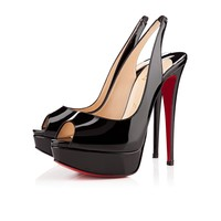 Lady Peep Sling 150 Black Patent Leather - Women Shoes - Christian Louboutin