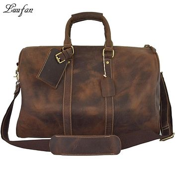Crazy horse leather travel bag big leather duffel big travel luggage bag vintage  travel handbag leather bag