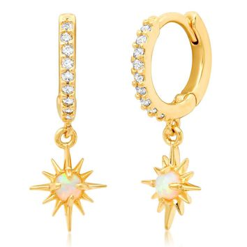Opal Star Drop Earrings
