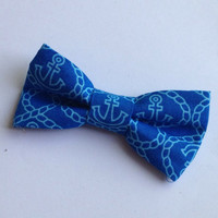 Anchor Bow, bright blue Nautical Bow tie - prettied- infant toddler, child, adult size - Nautical Hair Bow navy tie