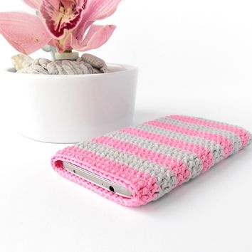 Grey pink striped cotton phone case
