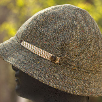 Donegal Tweed Wool British Army Pith Helmet Style | Dusky Green 6 Panel Bucket for Boonies & Bush