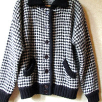 vintage 80s cardigan sweater jacket - black & white houndstooth bomber jacket by Marisa Christina - mohair - wool