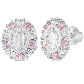 Rhodium Plated Our Lady of Guadalupe Pink Crystal Girls Screw Back Earrings