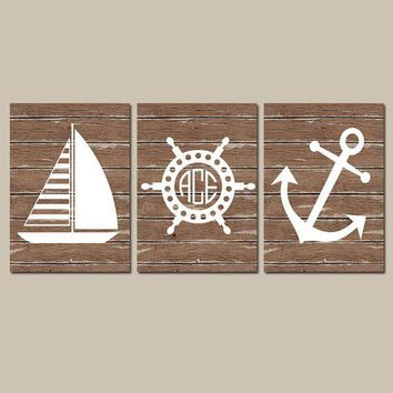 Nautical Wall Art, CANVAS or Print, Ocean Bathroom Decor, Monogram Initials, Wood Coastal Boy Nursery, Anchor Sailboat Wheel Set of 3