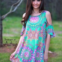 Brightly Printed Jade Cold Shoulder Dress
