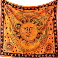 Cotton Handmade Fabric, Sun Moon Tapestry, Hippie Wall Hangings, Bohemian Tapestries, Boho Sun Wall Tapestries, Hippy Home Decor