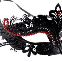 Classy Layer Filigree Masquerade Mask With Red Rhinestones Black