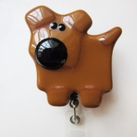 Vet Tech Retractable ID Badge Holder for Dog Lover, Handcrafted Fused Glass Dog, Nurse RN ID Card Reel