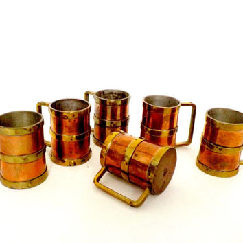 Set of 6 Copper Brass Cups Mugs, Shots,  Expresso Cups, Cappuccino Cups, Shotglasses, Copper Barware,