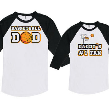 Matching Father And Baby Dad And Baby Shirt New Dad Gifts Basketball Dad Daddy's #1 Fan Bodysuit American Apparel Unisex Raglan MAT-726-727