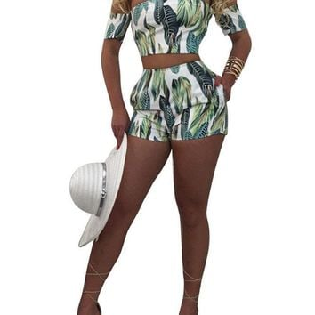 Print Strapless Crop Top with Shorts Two Pieces Set