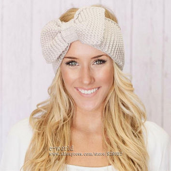 New 12 Colors Cotton Crochet Bow Headband Turbante Ear Warmer Winter Women Turban Head Wrap Hair Accessories Free Shipping A0413