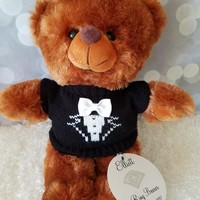 Ring Bearer Teddy Bear, Personalized Brown Teddy Bear 11inches