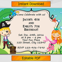 Twin Invitation, Editable Pirate and Mermaid Birthday Invitation, Instant Download, Sibling boy and girl etsy invitation T002