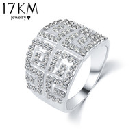 17KM Vintage Letter G Ring Silver Color Zircon Wedding anelli Crystals Ring bague Engagement anillos anel Rings for Women Gift