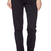 SOLOW Quilted Slim Slouch Pant in Black