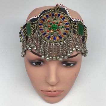 Kuchi Headdress Headpiece Afghan Ethnic Tribal Jingle Alpaca Silver Glass,CK640