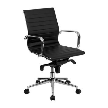 Flash Furniture Mid-Back Black Ribbed Leather Dual Paddle Control Swivel Executive Office Desk Conference Chair