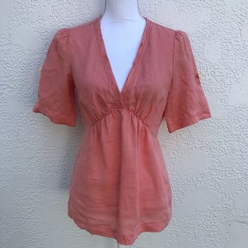 Banana Republic Peach Linen Top, Size Small