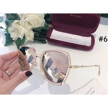 GUCCI 2019 new anti-UV female models wild large frame color film polarized sunglasses #6