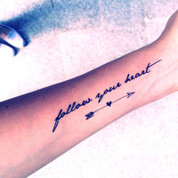 "2pcs ""Follow your heart"" quote and arrow tattoo - InknArt Temporary Tattoo - tattoo body sticker fake tattoo wedding tattoo small tattoo"