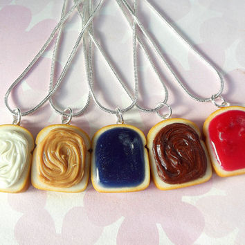 set of 5 peanut butter grape jelly nutella fluff and strawberry jam best friend necklaces polymer clay bff