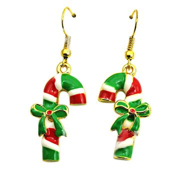Fashion Earings Green Enamel Bow Crutch Charms Eardrop Fashion Christmas Earrings For Women Jewelry #45