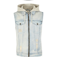 River Island MensBlue acid wash denim sleeveless hoodie vest