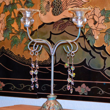 Vintage Wrought Iron Verde Candle Holder Shabby Chic Heart Shaped Iridescent Crystal Drops and Clear Glass Candle Holders