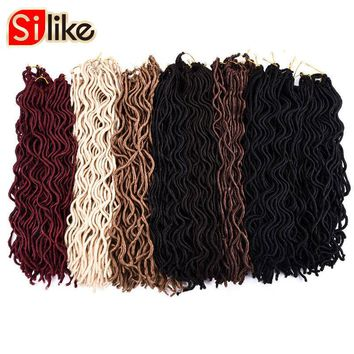 """Silike 24 Roots Wavy Small Short Faux Locs 10"""" 20'' Crochet Braids Hair Extension for Kids and Black Women 60g-100g/pack"""