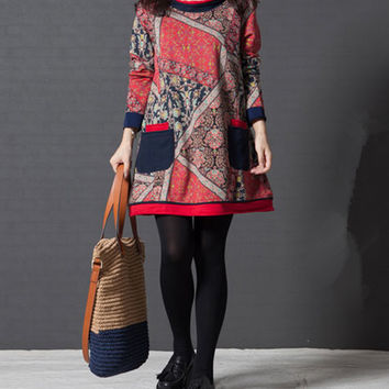 Charming autumn long sleeve loose short multi-color print korean dress (ESR106)