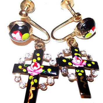 "Guilloche Dangle Cross Earrings Black Enamel Pink Rose Gold Screw Backs 1 1/2"" Vintage 1940s-50s"