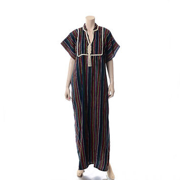 Vintage 70s Mexican Rainbow Stripe Caftan Dress 1970s Multi Colored Woven Muumuu Hippie Kaftan Boho Festival Dress / Free Size