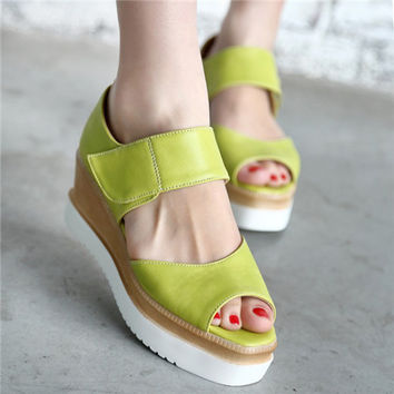 Summer Style Candy Color College Womens Peep Toe Wedge Platform Sandals