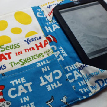 Cat in the Hat Blue  E-Reader Cover Kindle , Nook Cover, Kobo Cover, Kindle Fire Cover, Kindle Touch Cover Made to Order