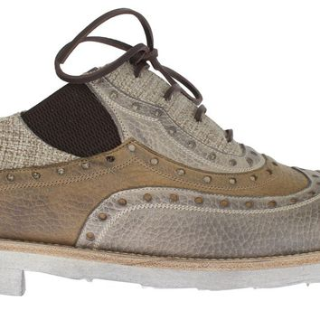Dolce & Gabbana Beige Leather Raffia Wingtip Shoes