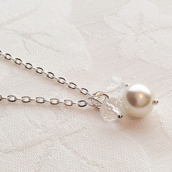 Ivory Pearl Necklace Ivory Pearl Jewelry Pearl and Crystal Necklace Bridesmaid Jewelry Wedding
